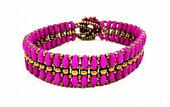 Flat SuperDuo Bracelet Beadwork Kit - Neon Violet and Bronze